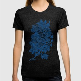 Leaf Structures nature print in blue T-shirt