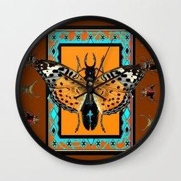 WESTERN COFFEE BROWN-TURQUOISE  BUTTERFLY & BEETLES ART Wall Clock