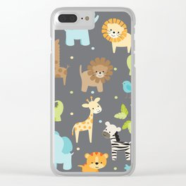 Jungle Animals Clear iPhone Case