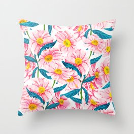 Pink Floral || Throw Pillow