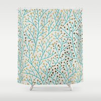 winter Shower Curtains featuring Berry Branches – Turquoise & Gold by Cat Coquillette