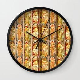 """Alphonse Mucha """"Times of day"""" Wall Clock"""