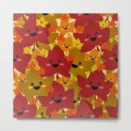 Happy leafy Autumn mess Metal Print