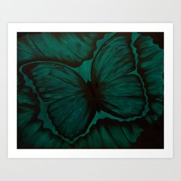 Green Butterfly Geode Art Print