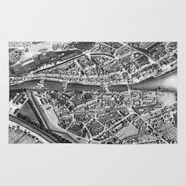 Vintage Map of Zurich Switzerland (1850) Rug