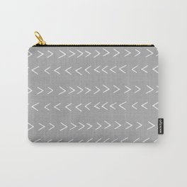 linocut Mudcloth grey and white minimal modern chevron arrows pattern gifts dorm college decor Carry-All Pouch