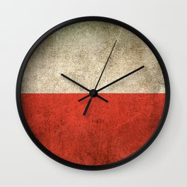 Old and Worn Distressed Vintage Flag of Poland Wall Clock