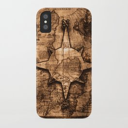 Antique World Map & Compass Rose iPhone Case