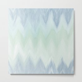 Modern geometrical pastel blue mint green watercolor ikat Metal Print