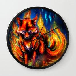 9 tails Fire Wall Clock