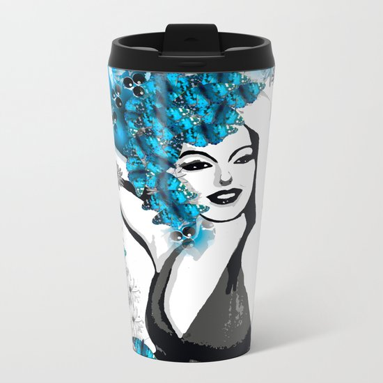 BUTTERFLY WOMAN Metal Travel Mug