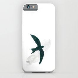 Black swift flying against the background of a cloud iPhone Case