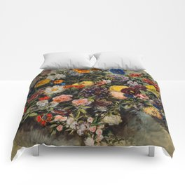 """Eugène Delacroix """"Flowers (Bouquet de fleurs)"""" aquarelle Comforters"""