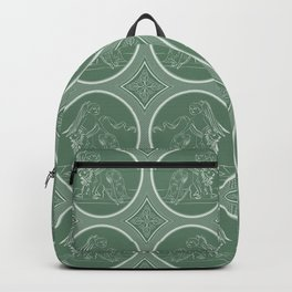 Grisaille Fern Green Neo-Classical Ovals Backpack