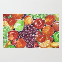 fruit Area & Throw Rugs featuring fruit by heatherinasuitcase