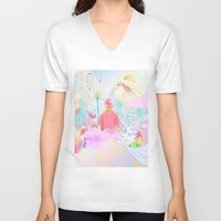 rave V-neck T-shirts featuring PINK RAVE by Haiku Felix