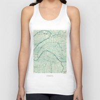 vintage map Tank Tops featuring Paris Map Blue Vintage by City Art Posters