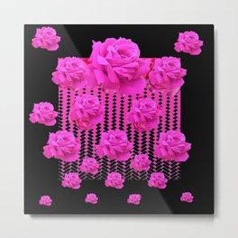 MODERN BLACK ART CERISE PINK ROSE GARDEN Metal Print