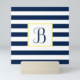 Monogram Letter B in Navy Blue it Yellow Outlined Box Mini Art Print
