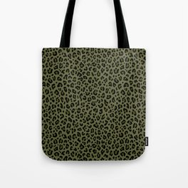 CAMO LEOPARD PRINT – Olive Green | Collection : Punk Rock Animal Prints. Tote Bag