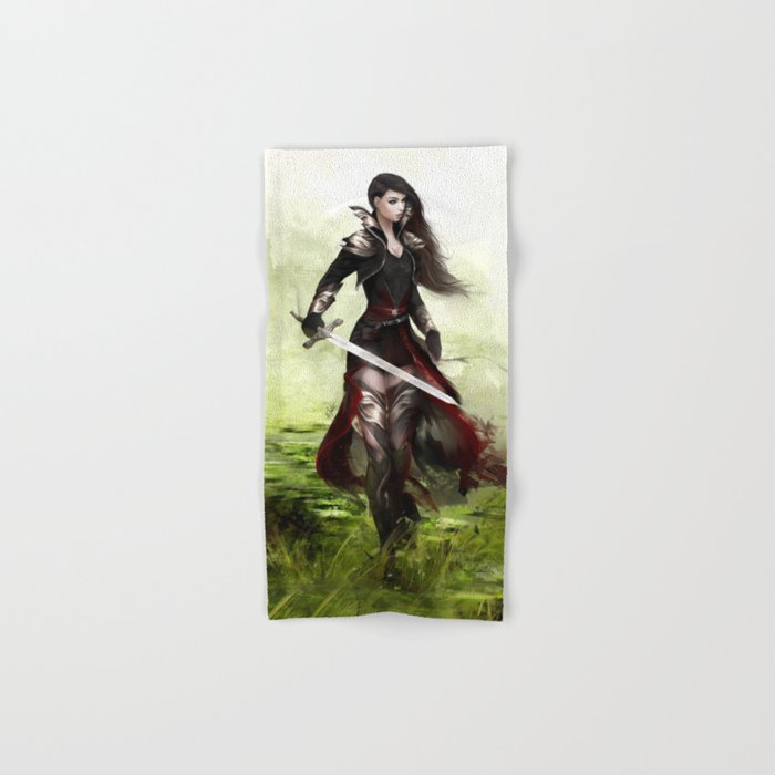 Lady knight - Warrior girl with sword concept art Hand & Bath Towel