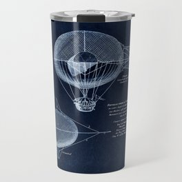 Antique Blueprint French Balloon Airship, Steampunk Travel Mug