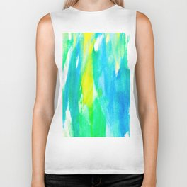 Artistic Neon Turquoise Yellow Teal Watercolor Biker Tank
