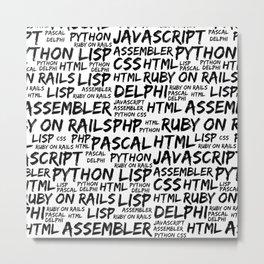Programming Languages (Java, Pascal) - Black Metal Print