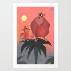 Donkey Kong & Diddy Kong Art Print