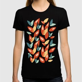Orange Blue Yellow Abstract Autumn Leaves Pattern T-shirt