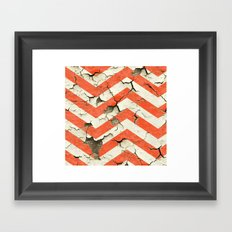 Peeling Chevrons Orange Framed Art Print