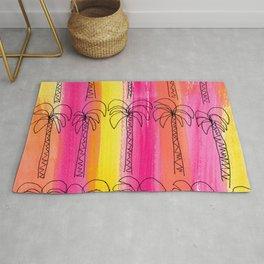 Palm trees pattern Pink summer beach illustration Rug