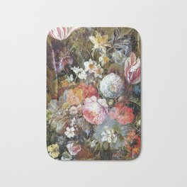 Worn vintage floral wood panel Bath Mat