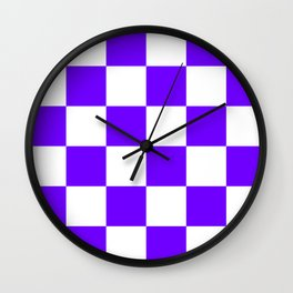 Large Checkered - White and Indigo Violet Wall Clock
