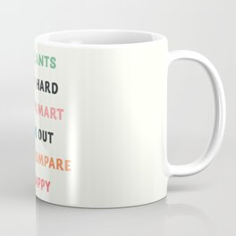 Good vibes quote, Eat plants, study hard, spend smart, work out, don't compare, be happy Coffee Mug