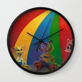 Best Day of Gym Class - Rainbow Parachute animals, mouse, tiger, raccoon Wall Clock