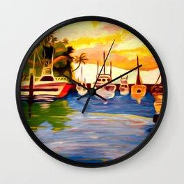 Lahaina Harbor Sunset Wall Clock