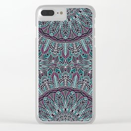 Mandala white pink and cyan lace Clear iPhone Case