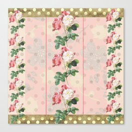 Vintage Rose Polka Dots Canvas Print