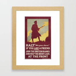 Poster, 'Halt! Who goes there', February 1915, United Kingdom, by Parliamentary Recruiting Committee Framed Art Print