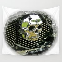 motorcycle Wall Tapestries featuring Motorcycle Skull by Scenic View Photography