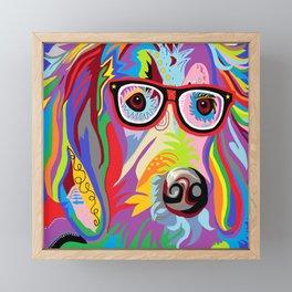Smart Retriever Hipster with Glasses Framed Mini Art Print