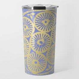 flower power: variations in periwinkle & gold Travel Mug