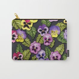 Purple, Red & Yellow Pansies With Green Leaves - Floral/Botanical Pattern Carry-All Pouch