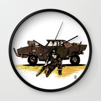 mad max Wall Clocks featuring MAD MAX by Gregory Casares