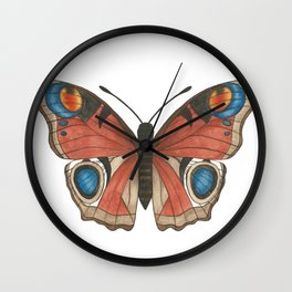 Peacock Butterfly Illustration Wall Clock