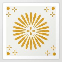 Happy Sunshine - yellow art, sunshine, boho art, bohemian, tile, home decor, yellow, yellow art print Art Print