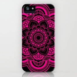 Mandala Flower Pink & Black iPhone Case