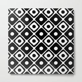 Mid Century Modern Diamond Dot Pattern 412 Black and White Metal Print