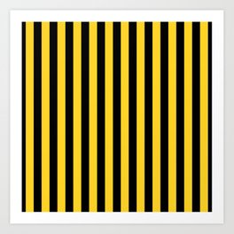 Yellow and Black Large Tent stripes Art Print